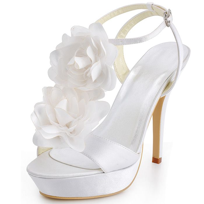 "White Dyeable Fabulous 5"" Hand Made Flower Open Toe shoes"