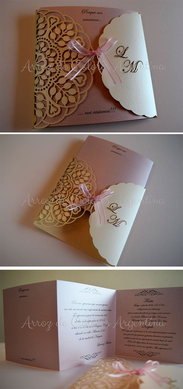 Tarjeta - Participación de casamiento. Boda. Troquelado - calado láser / Wedding invitation - laser cut https://www.facebook.com/arrozdecolores.arg