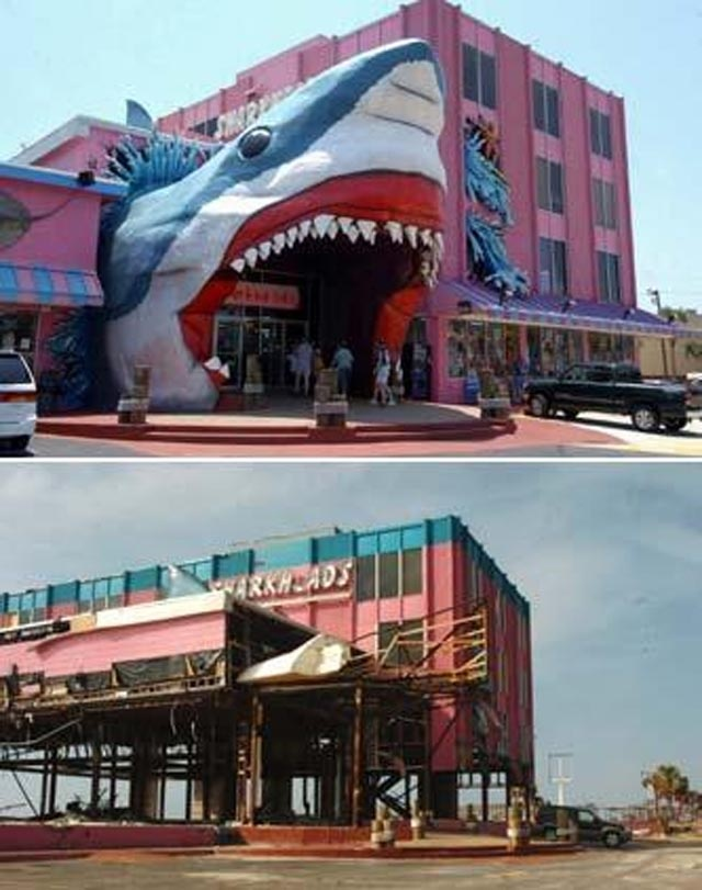 2005 Hurricane Katrina   Sharkheads before and after.   Biloxi Mississippi on Hwy 90   Has since been rebuilt. (Thanks for the info.)