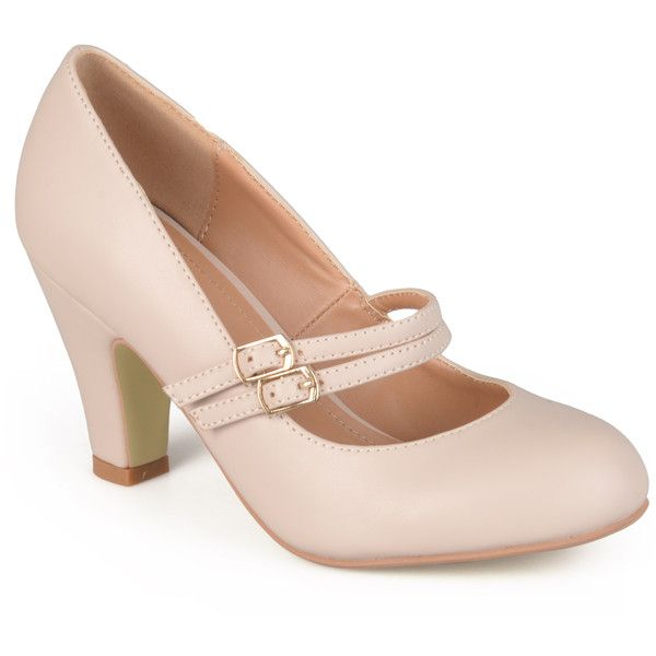 Journee Collection Women's 'Peter' Classic Matte Finish Mary Jane... ($37) ❤ liked on Polyvore featuring shoes, pumps, heels, low heel, nude, maryjane pumps, small heel pumps, mary jane pumps, short heel pumps and nude pumps