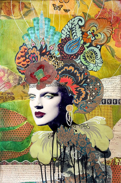 "Longing Mixed Media Collage 48"" x 24"" ©Andrea Matus deMeng"