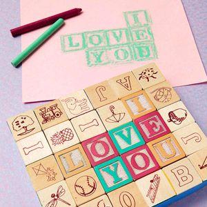 Easy printmaking! Use alphabet block impressions on Valentine's Day cards.