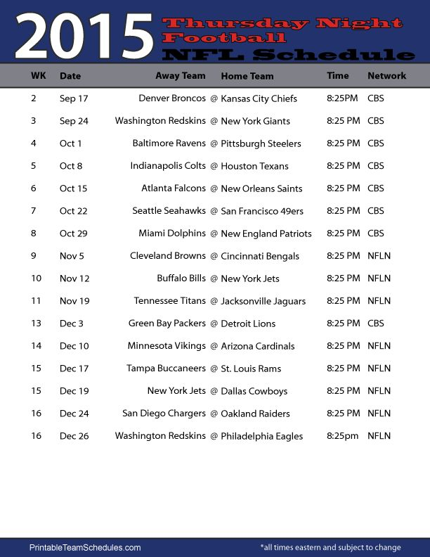 NFL Thursday Night Football Schedule