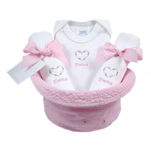 30 best diaper parties images on pinterest baby shower diapers charming personalized bucket hat gift set for baby girl our set includes a cotton onesie and burp clothsembroidered by baby stuff negle Gallery