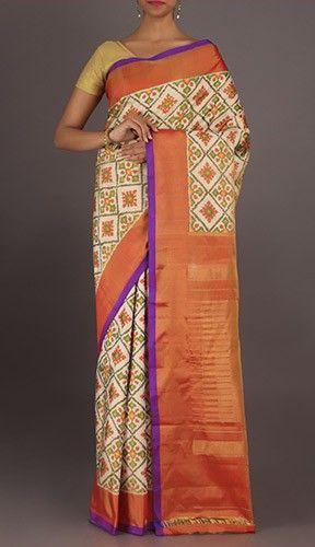 Vasantha Rangoli Patterned Elegant Full Ornate Ikat Pochampally Silk Saree
