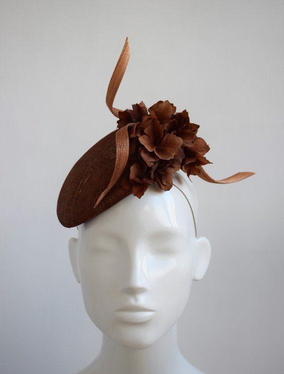Purple Brown Pheasant Feather Pillbox Hat Fascinator Races Hair Clip Ascot 5473