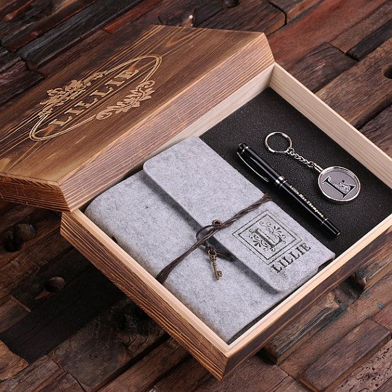 4pc Women's Gift Set Personalized Felt Journal, Monogrammed Key Chain, Pen and Wood Box <3