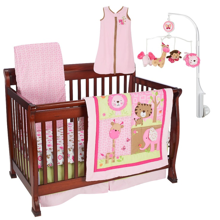 just born girls sassy safari 6 piece crib bedding set just born babies r us baby. Black Bedroom Furniture Sets. Home Design Ideas