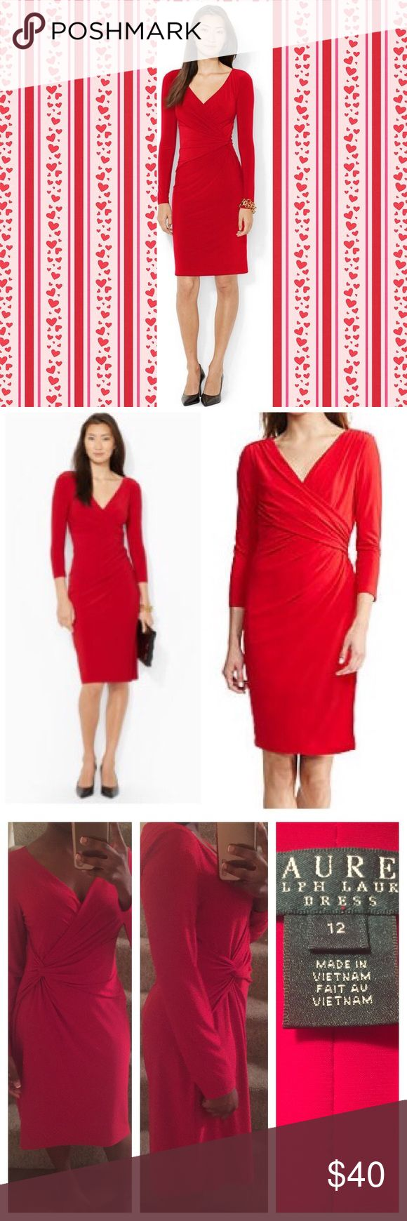 Red Wrap Midi Formal Dress Belonged to my mom. Great condition. Size 12       Tags: Michael kors, bcbgmaxazria, bebe, balenciaga, marc jacobs, diane von furstenberg, express, kate spade, asos, zara, french connection, tahari, st. john, free people, theory, j. Crew, isabel marant, balmain, alexander wang, vera wang, dior, bebe, worthington, ann taylor, loft, talbots, chico's ralph lauren Lauren Ralph Lauren Dresses