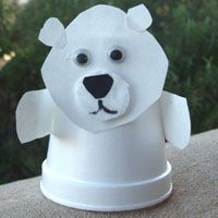 "Read the classic ""Polar Bear, Polar Bear what do you Hear?"" by Bill Martin Jr. and Eric Carle plus read the beautiful ""A Polar Bear Journey"" by Debbie S. Miller then create this cute Polar Bear with a styrofoam cup, paper and googly eyes. Perfect for a winter story time or classroom lesson."