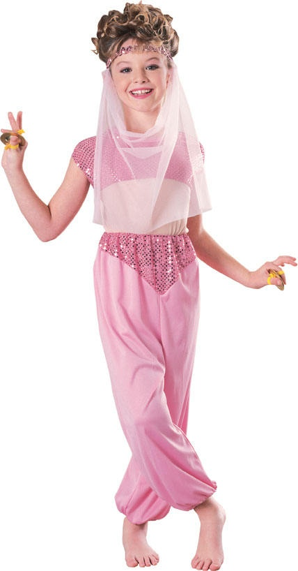 Pink Harem Arabian Jeannie Girls Med 5 - 7 Costume  Description    This cute pink Harem Girl outfit comes complete with headpiece, veil & jumpsuit.  $39.99