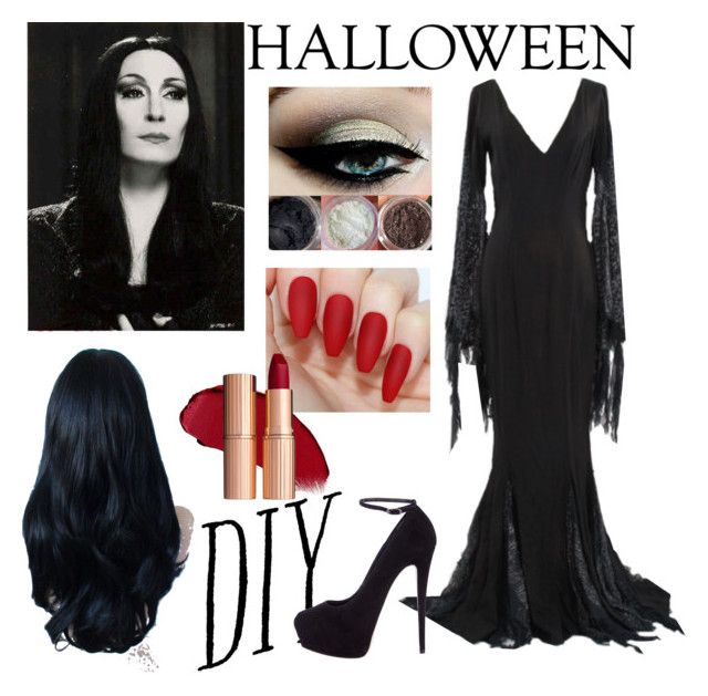 """Morticia Addams: DIY Halloween Costume"" by slightly-invisible ❤ liked on Polyvore featuring Giuseppe Zanotti, halloweencostume and DIYHalloween"