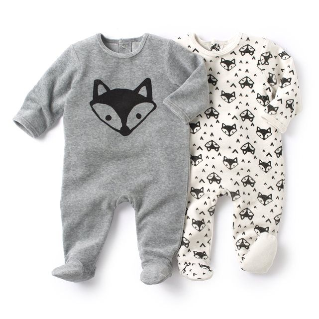 Pack of 2 Velour Sleepsuits with Feet