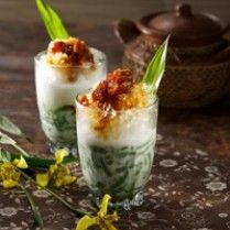 Es Dawet/Es Cendol. Cendol made from mungbean flour, served with coconut milk, palm sugar and ice.