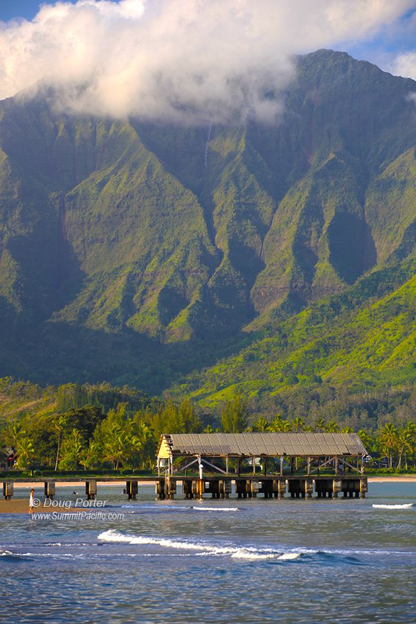 """""""Hanalei Mountains and Pier"""" by Doug Porter on 500px - This is a photograph of Hanalei Bay on the north shore of Kauai.  It is spectacular for many reasons.  The pier is a local favorite for fishing, watching sunsets, or just jumping into the bay."""