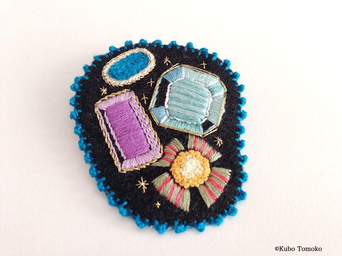 #KuboTomoko #Crafts #刺しゅう #刺繍 #embroidery #handmade #ハンドメイド #illustration #イラストレーション #brooch #ブローチ #jewel #宝石