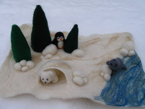 Waldorf felted winter playscape... a great rainy-day activity for children