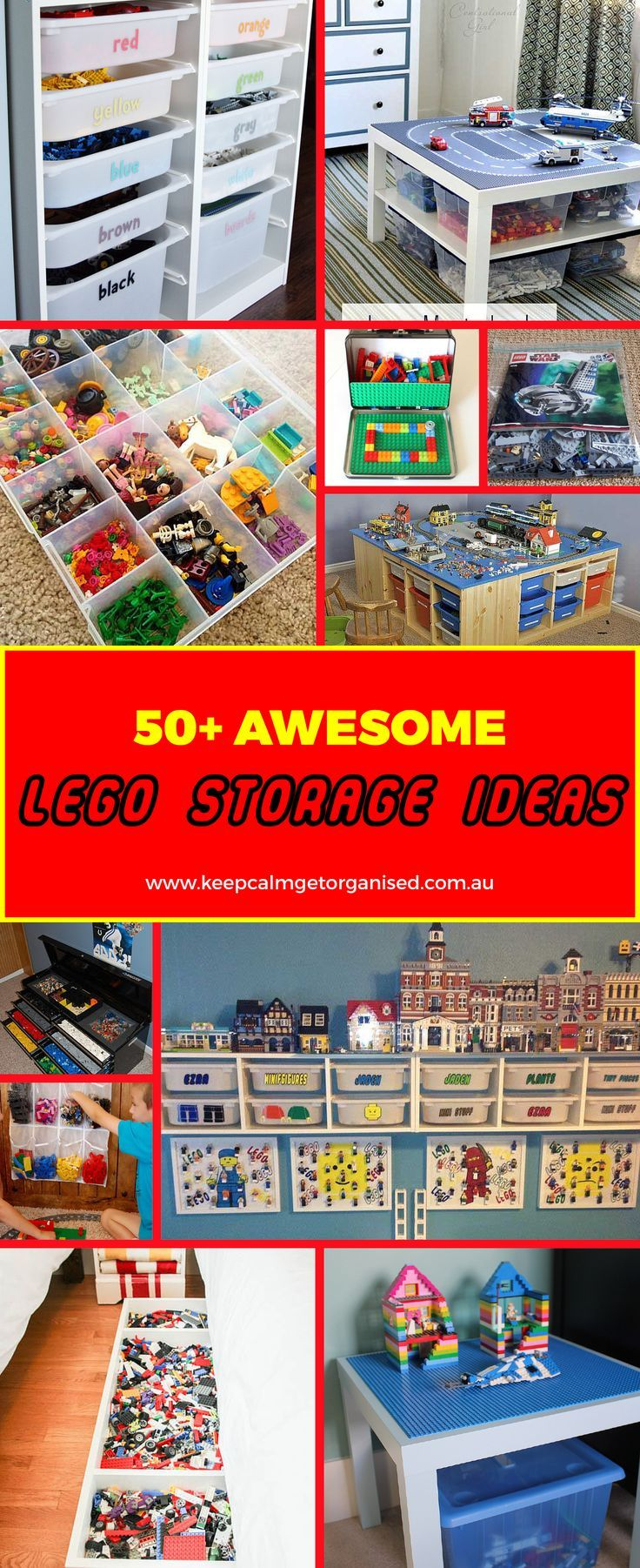 Here's a major list of inspiration for LEGO storage ideas. From over the closet shoe holders where bricks can be sorted by color or size, to repurposed tool boxes, under the bed storage, and tackle boxes! There so so many ways to creatively sort and store your LEGO bricks! You're bound to find a few really cool ideas here!