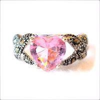 PINK TOPAZ HEART RING: Heart Shape Gem Marcasite 925 Sterling Silver SIZE 6,7,8