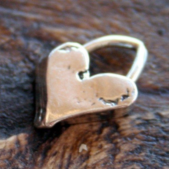 Artisian Handcrafted Rustic Tinest Heart CHARM  by thehappyjewel, $4.05