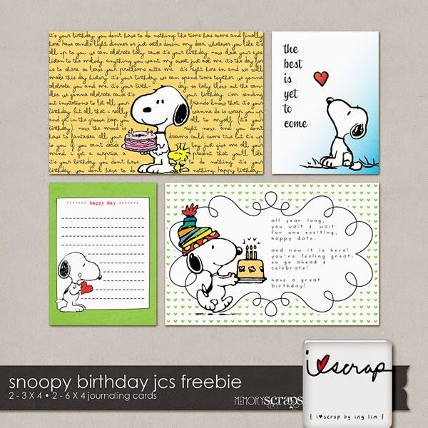 Free Snoopy Birthday Journal Cards from i♥scrap