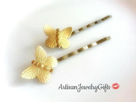 Gold butterfly bobby pins set