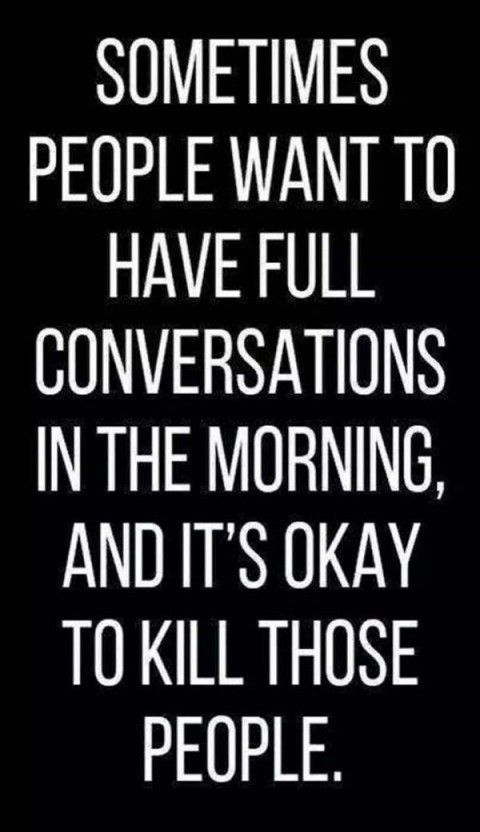Some people want to have full conversations in the morning, and it's okay to kill those people.