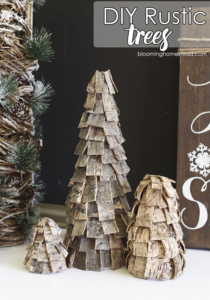 Beautiful DIY Rustic Christmas trees using birch
