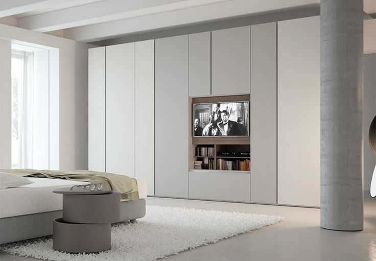 Contemporary style sectional lacquered wooden wardrobe with built-in TV GRAFIK | Wardrobe with built-in TV - Caccaro