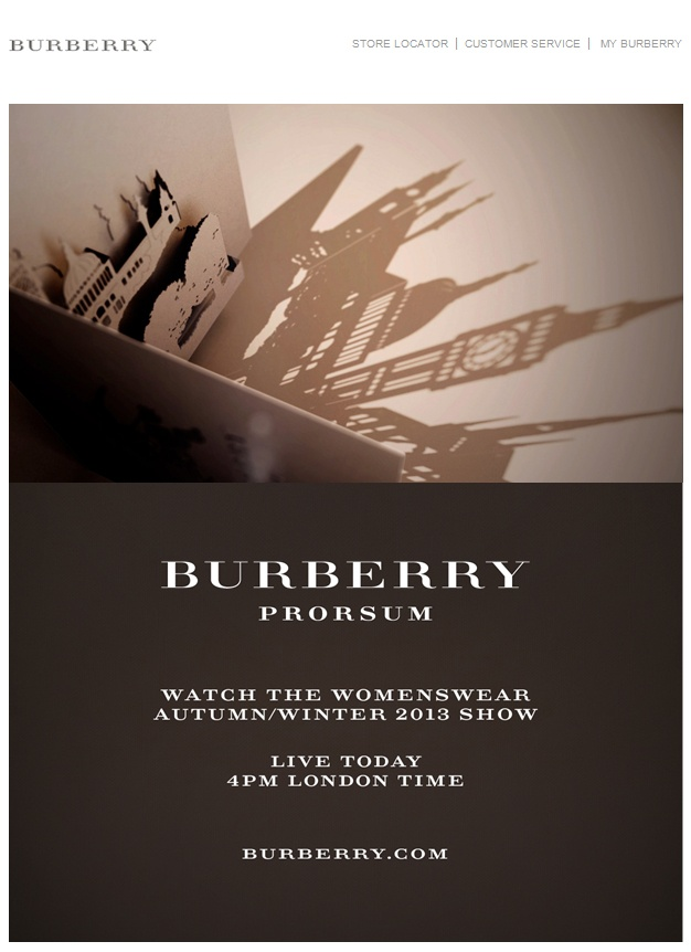 Web Graphic Design. Newsletter Inspirational. Fashion. Burberry. Luxury.