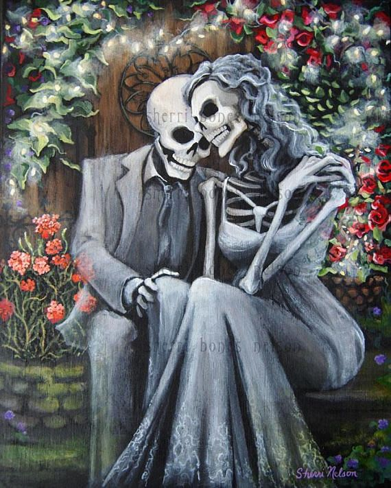 Romantic Day Of The Dead Canvas Art Skeleton Couple