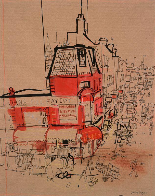 lucinda rogers drawing ink watercolour petticoat lane spitalfields london east end street scene life cityscape pay day market sellers