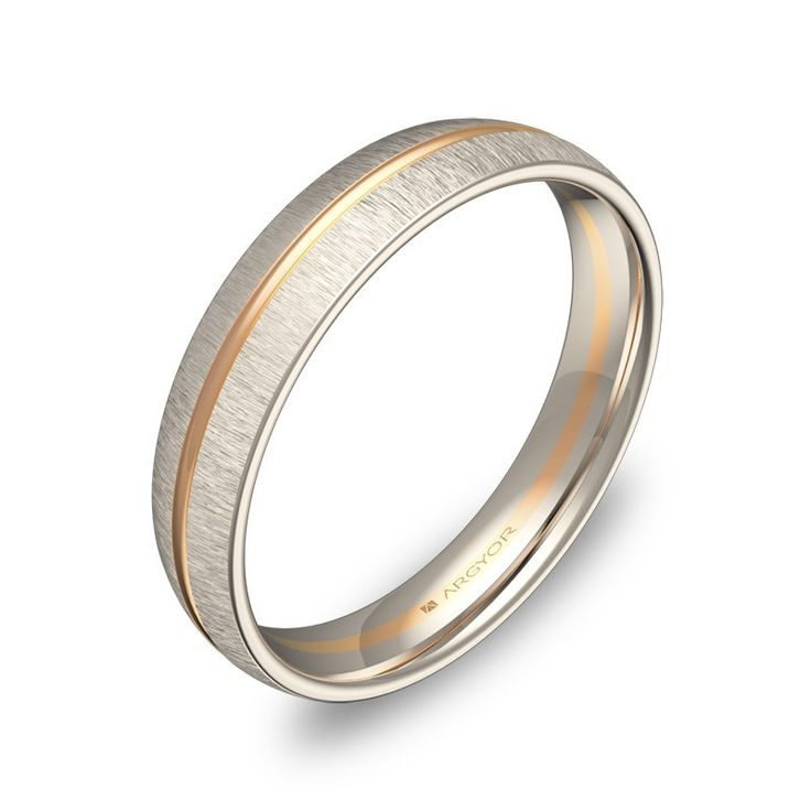 Alianza de boda en oro bicolor de 18k. Una de las alianzas originales que puedes encontrar en la colección de anillos de boda ARGYOR1954.