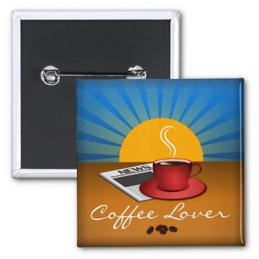 Coffee Lover Cafe Coffee Cup Square Custom Button  This cool, cute, trendy, modern, stylish 'Coffee Lover' square name tag button, badge or pin features a white newspaper on top of a brown table with a red cup of coffee next to it and the blue sky, yellow sun and sun rays in the background.   #coffeelovers #buttons #coffeelover #buttons #badges #morningcoffee #cafe #coffee #coffeecup #coffeebeans