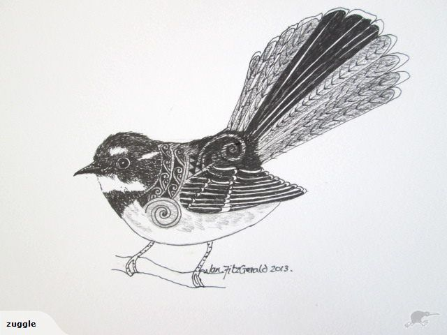 """""""Fantail winter 2013"""" ORIGINAL by Jan FitzGerald - Copyright. Executed with fine-tip pigment pen.  