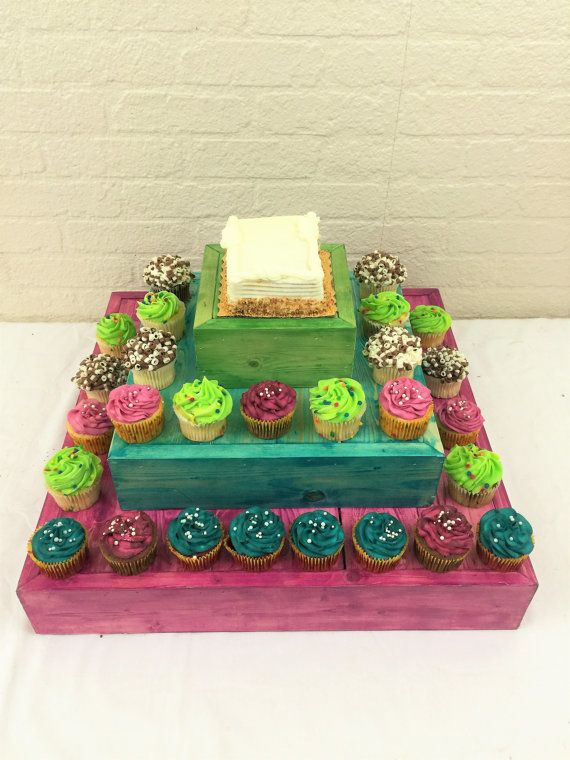Please read our listing in full for policies and shipping times as well as dimensions of each item. 3 Tier Square wood cake stand, cupcake display or display riser. This piece has so many uses and is a beautiful accessory on any table. Use as a cake stand, display riser or a multitude