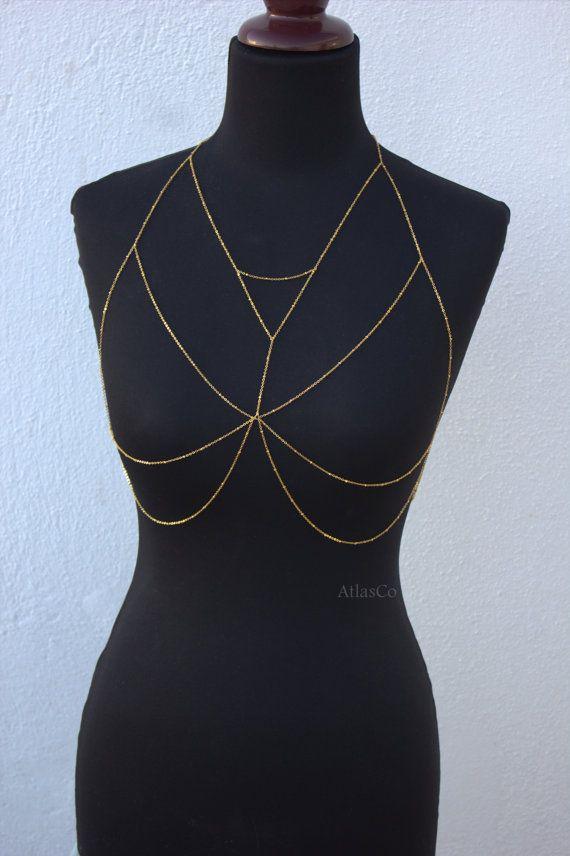 Free shipping  Gold Bra  Bralette Chain  by NightingaleWorkshop
