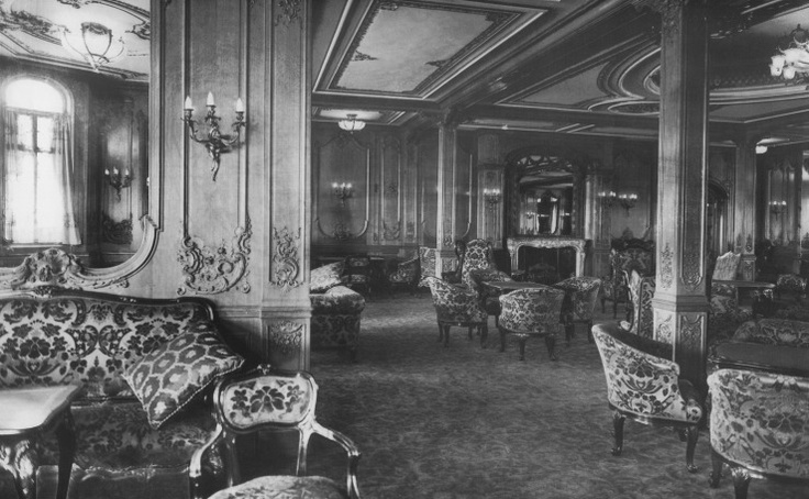The First Class Lounge on the RMS Titanic, photographed on January 4, 1912.