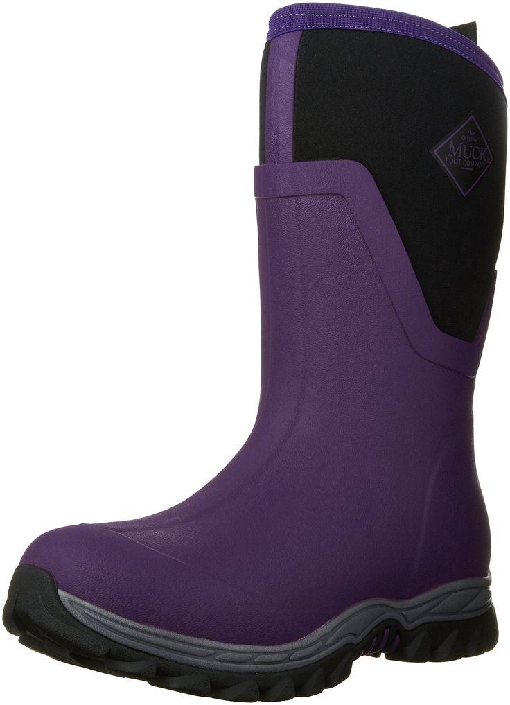 Muck Boot Company Women's Arctic Sport Ii Mid Winter Boots Socks, Purple, Size 10. Upper: extended rubber exterior. Insulation: 5mm of Neoprene. Lining: warm fleece.