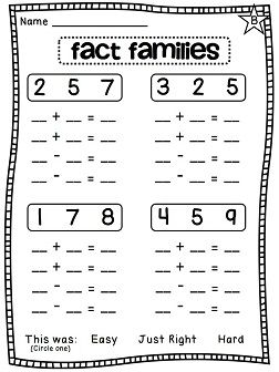 Fact Families differentiated worksheets