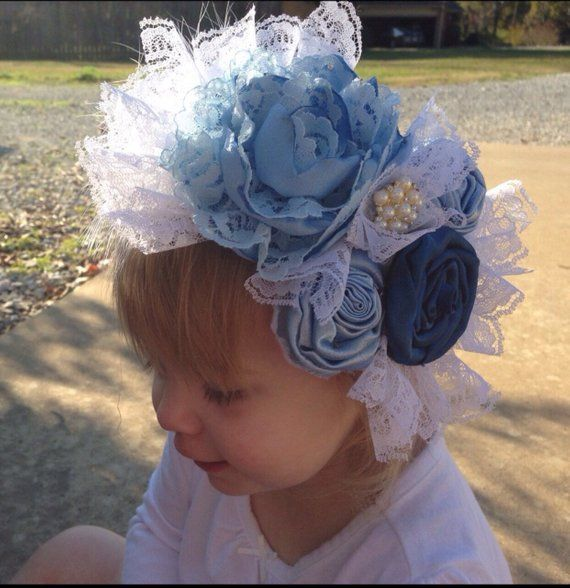 Light Blue Vintage Couture Headband Shabby Chic Flower Headband Over The Top Headand First Birthday Headband Photo Prop Lace Headband Headbands Satin Flowers Lace Headbands