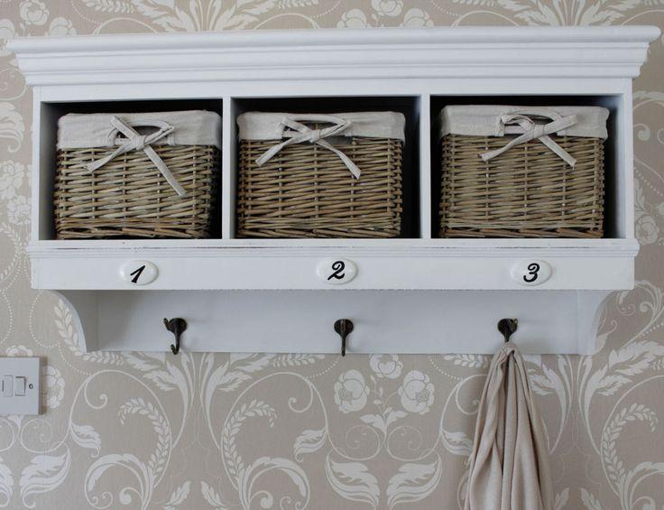 Overhead Coat Rack With Storage Shabby Chic Hall Vintage Wall Shelf Baskets