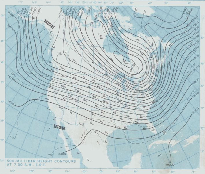 Us National Weather Map January 17 1982 500 Millibar Height Contours