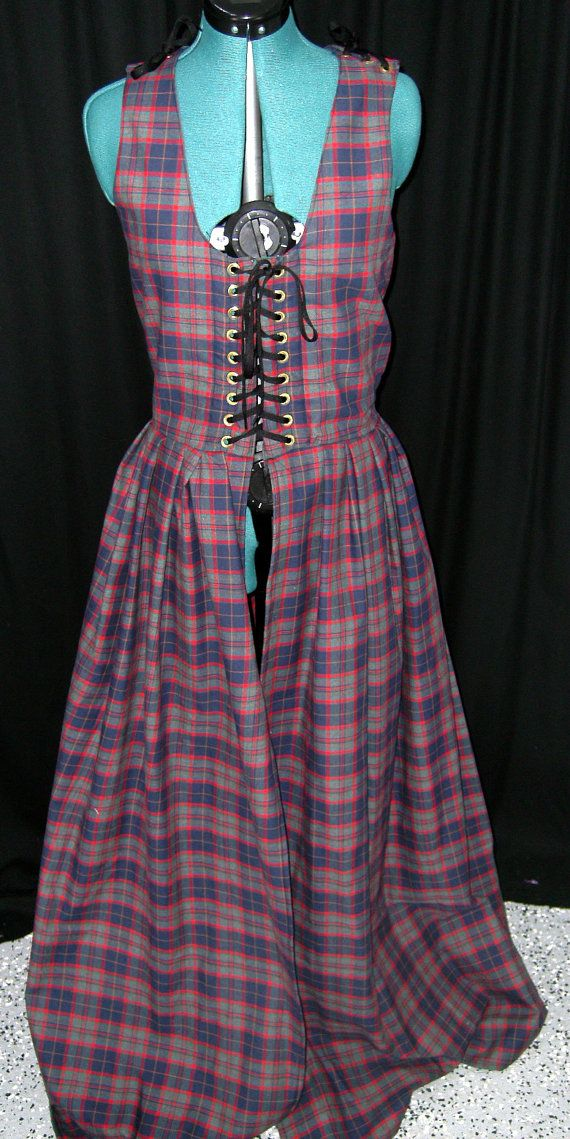 Wool Irish Dress in Blue Red and Grey Tartan  Size 12 by Mordork, $100.00