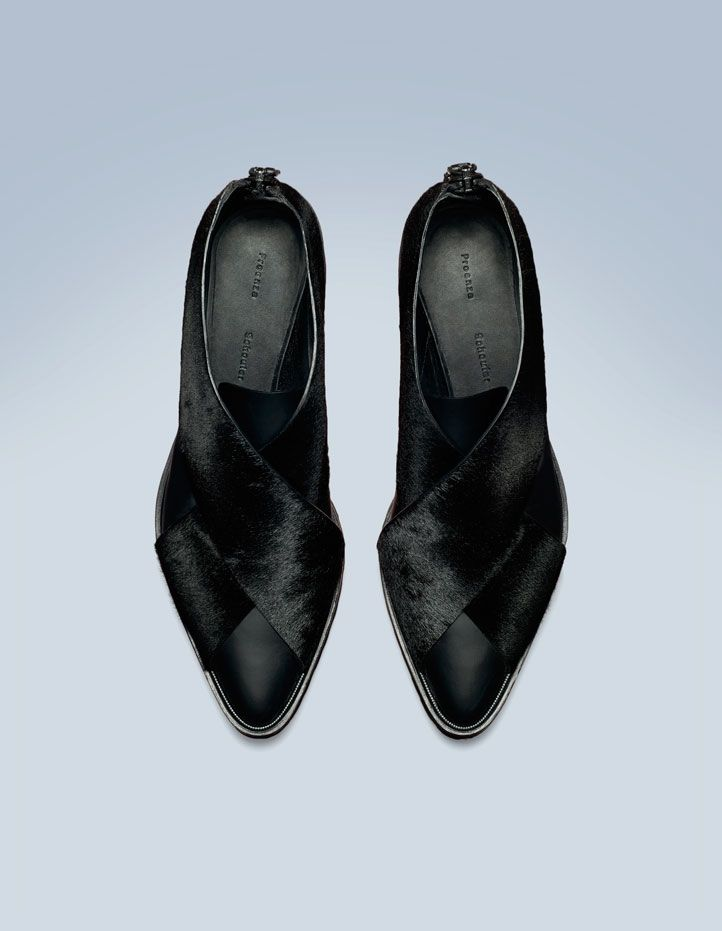 Black pony/leather flat