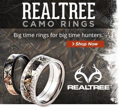 Rock Hammered Camo Ring, Realtree Camo Rings - Titanium-Buzz.com