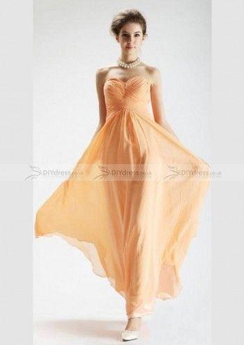 Simple A-Line Sweetheart Pleated Zipper Back Chiffon Floor-Length Bridesmaid Dresses