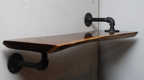 Black Walnut Wooden Slab Industrial Shelf:
