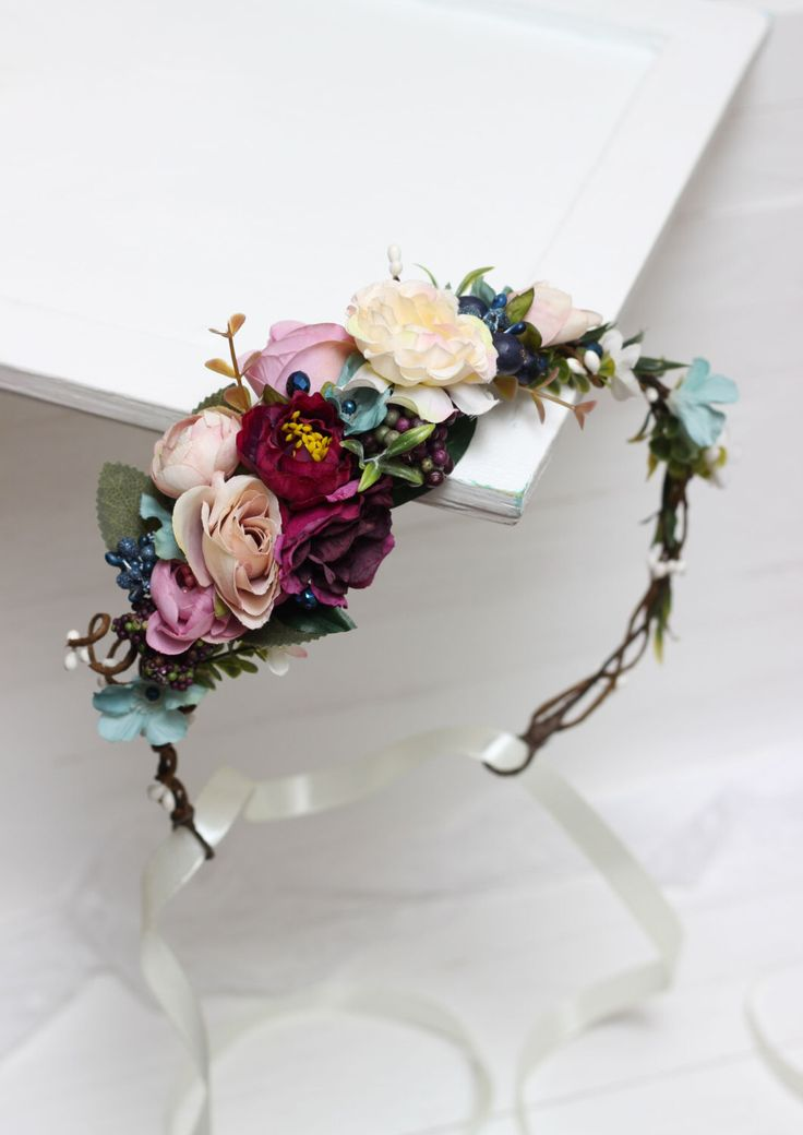 Ready to ship Floral crown  Boho flower crown Flower halo Bridal floral crown Wedding flower crown  Floral head wreath Girl flower crown by ByKochetova on Etsy https://www.etsy.com/listing/288712361/ready-to-ship-floral-crown-boho-flower