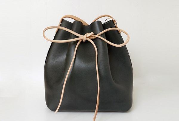 Handgemaakte lederen schoudertas emmer zak zwart voor vrouwen lederen…